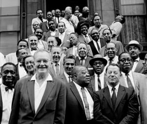 Front row, from left: Stuff Smith, Marian McPartland, Miff Mole, Gene Krupa, Jimmy Rushing, Roy Eldridge, Max Kaminsky, Hilton Jefferson. The one laughing on the right, up the stairs, is Dizzy Gillespie.