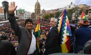Bolivia's former president Evo Morales, left, with former vice-president Álvaro García Linera during a rally in La Paz, on 5 November. They fled to Mexico on 11 November.