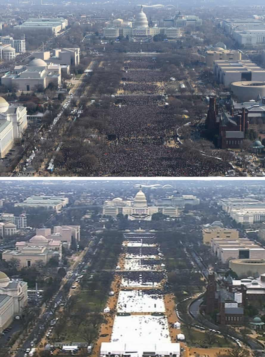 An Associated Press combination of photos shows a view of the crowd on the National Mall at the inaugurations of President Barack Obama, top, on 20 January 2009, and President Donald Trump, bottom, on 20 January 2017. The Associated Press said both were shot shortly before noon from the top of the Washington Monument.
