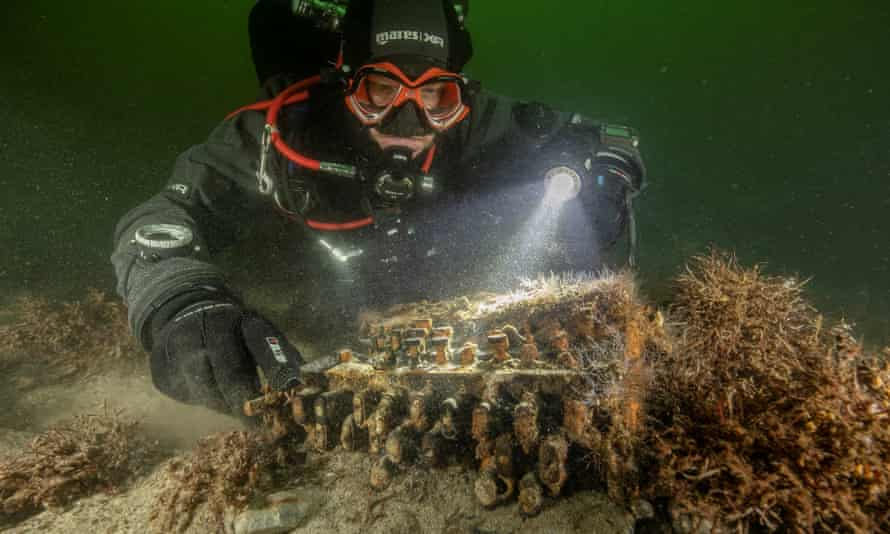 The Enigma cipher machine was discovered on the seabed in Gelting Bay near Flensburg, Germany.
