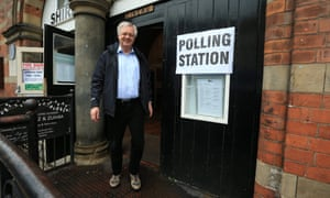 David Davis at a polling station in his Haltemprice and Howden constituency.