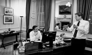 David Cameron in his Downing Street office with Jeremy Heywood, 2013.