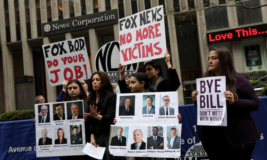 Protesters in front of the Fox News Channel office in New York.