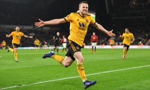 Diogo Jota of Wolverhampton Wanderers celebrates after scoring his team's second goal.