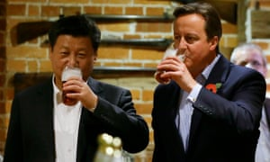 David Cameron drinks beer with the Chinese president, Xi Jinping, at a pub in the town of Princes Risborough