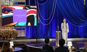 Chloé Zhao giving her speech after winning the best director Oscar