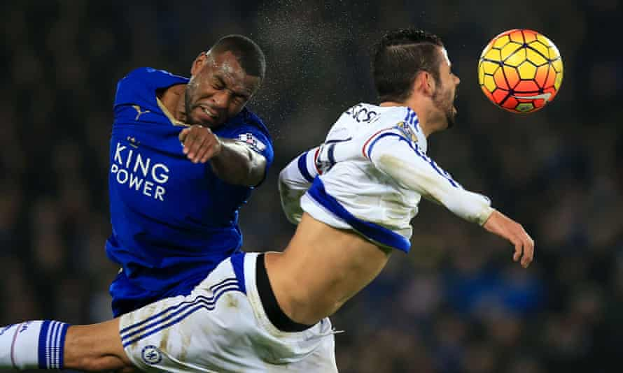 Leicester City's Wes Morgan, left, and Chelsea's Diego Costa battle for the ball in the game on Monday night.