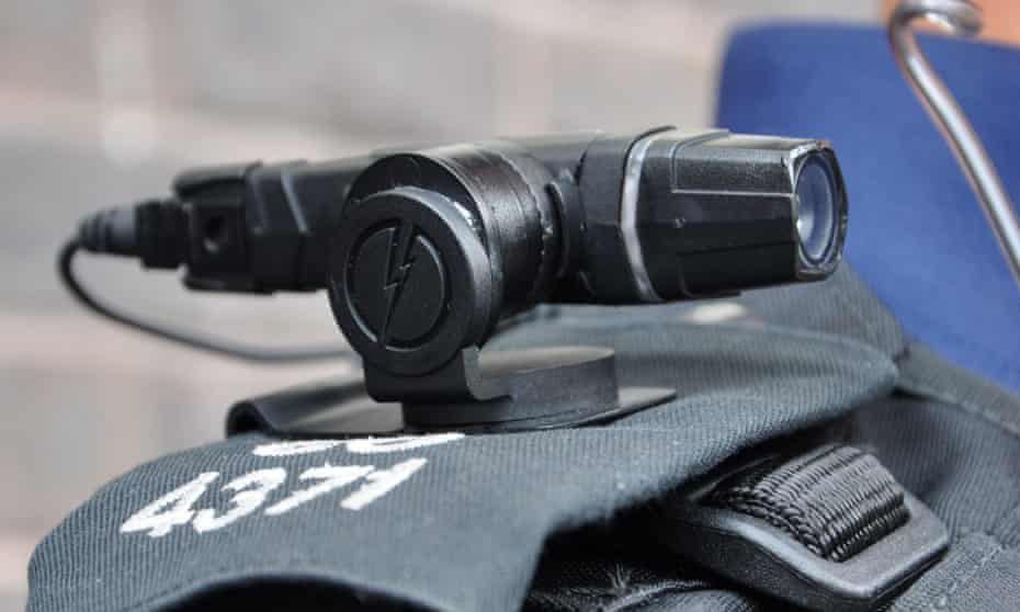 A shoulder-mounted police camera.