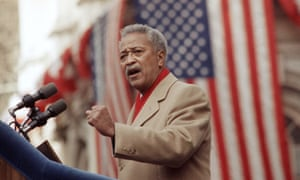 David Dinkins delivers his first speech as mayor of New York in 1990.