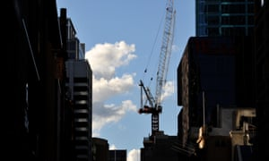 Residential and comercial buildings under construction in Sydney's CBD, Monday, June 2, 2014. House prices have suffered their largest monthly fall in five years, with the federal budget a likely contributor. (AAP Image/Joel Carrett) NO ARCHIVING