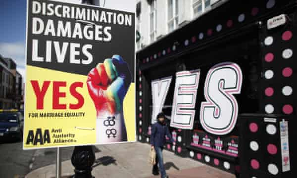 Yes campaign posters are plastered around Dublin ahead of the gay marriage referendum.