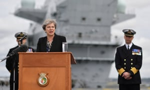 'No equivalence': Theresa May speaks on the flight deck of the British aircraft carrier HMS Queen Elizabeth in Portsmouth last week.
