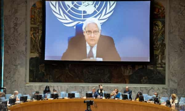 The UN aid chief, Martin Griffiths (on the screen) briefing the security council.