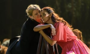 Margarita Nekrasova as Filippyevna and Karolina Gumos as Olga in Eugene Onegin, at Festival theatre, Edinburgh 2019. Komische Oper Berlin production.