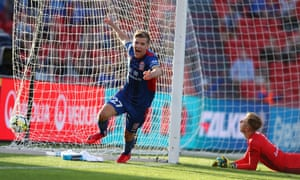 Riley McGree celebrates a goal during the Newcastle Jets' victory over Melbourne Victory at McDonald Jones Stadium.