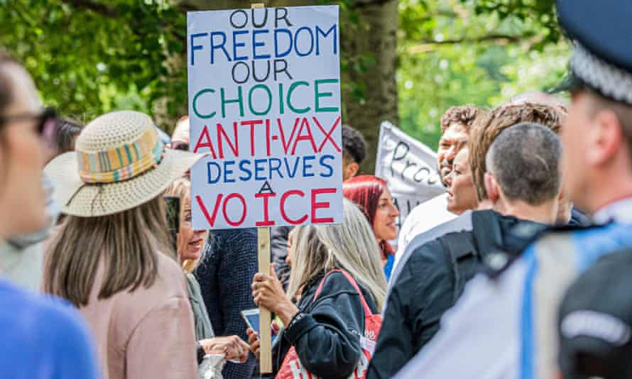 An anti-coronavirus lockdown protest at Hyde Park in London in May