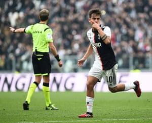 Paulo Dybala celebrates scoring their first goal.