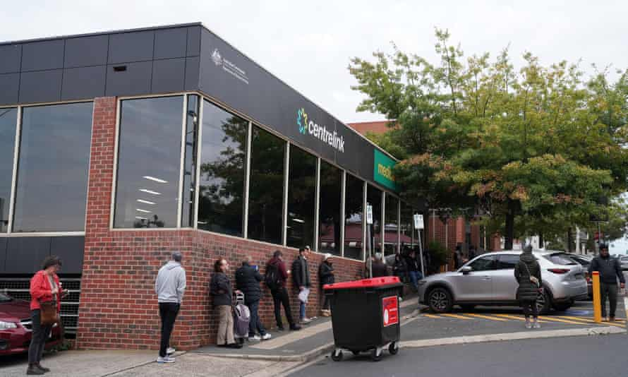 queue of people outside a centrelink office