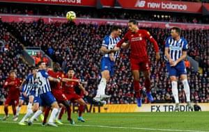 Virgil van Dijk scores his and Liverpool's second goal. Since the start of last season, Van Dijk has scored more Premier League goals than any other defender (7).