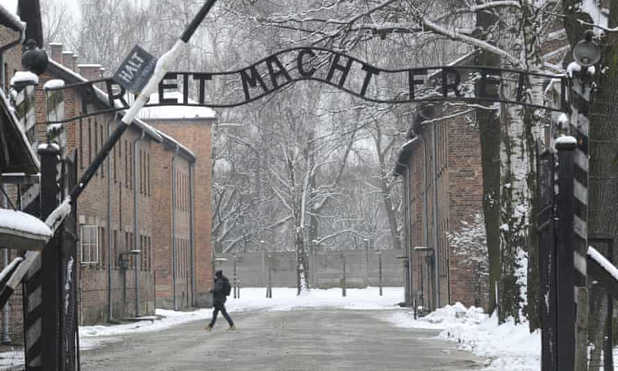 The entrance to the former Auschwitz death camp.