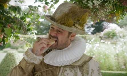 Proper tasty: Dyer attending a sugar banquet in the gardens of Helmingham Hall.