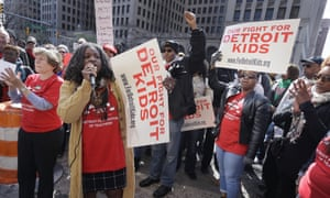 Detroit Federation of Teachers President Ivy Bailey addresses teachers outside the school district's headquarters on Tuesday in Detroit.