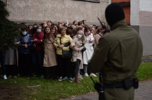 Belarus women, opposition activists, resist the police attempt to detain them as they gathered to support their current leader Maria Kolesnikova in Minsk.