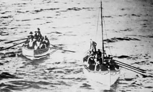 The Titanic's lifeboats on their way to the Carpathia.