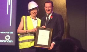 Theresa May presenting George Osborne with an award at the Spectator dinner last night.