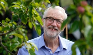 Labour leader Jeremy Corbyn at a community garden project in Macclesfield on 4 July.