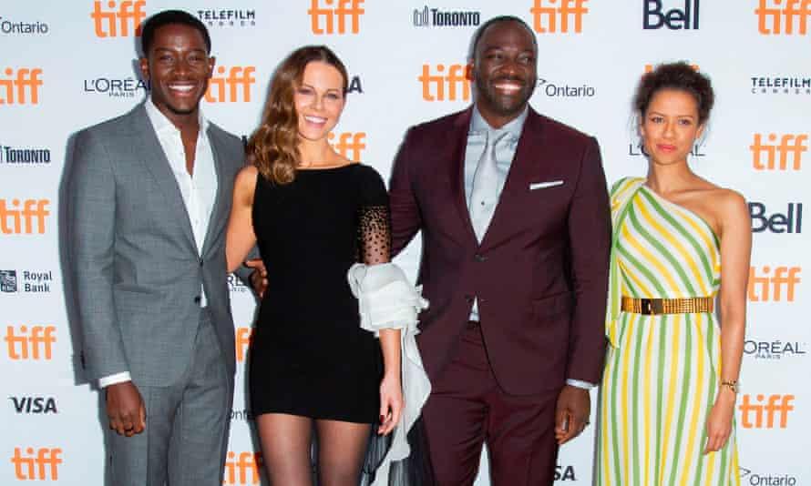Big breaks: with Kate Beckinsale, Adewale Akinnuoye-Agbaje and Gugu Mbatha-Raw at the premiere of Farming in 2018.
