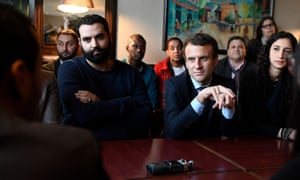 Belattar with Emanuel Macron while campaigning ahead of the French presidential election in 2017.