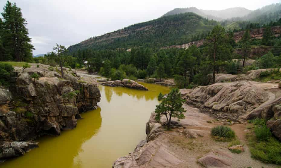 Heavy metals discolor the water north of Durango, Colorado, following the Gold King Mine spill. An estimated one million gallons of toxic wastewater was released into the Animas River.