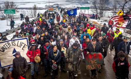 Dakota Access Pipeline water protectors in Standing Rock, North Dakota, in 2017. The Standing Rock Sioux chief welcomed the court's action on Wednesday.