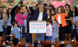 Iván Duque celebrates with supporters in Bogotá.