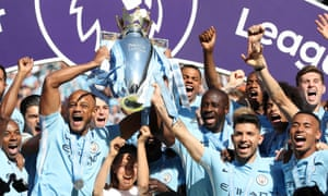 Manchester City celebrate their Premier League title success of the 2017-18 season.