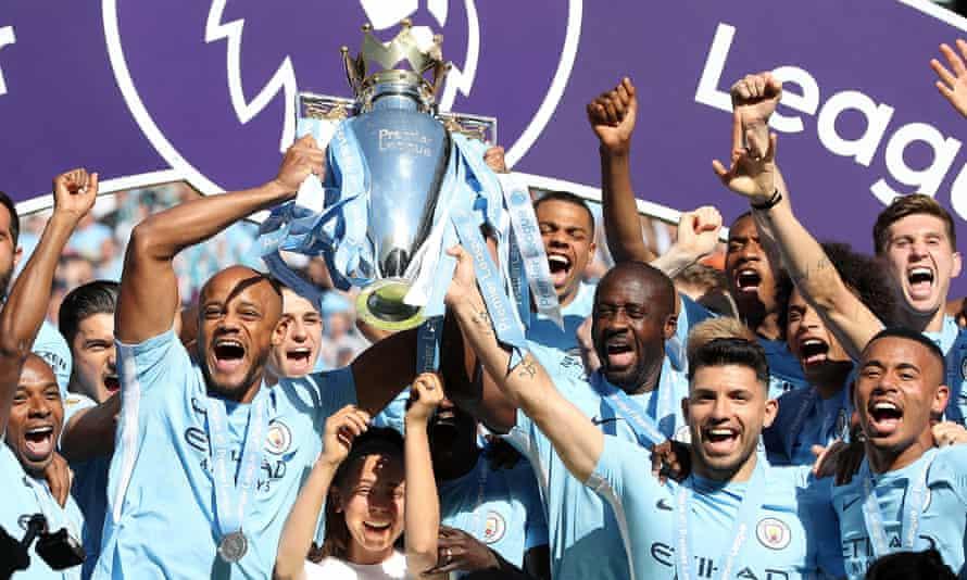 Manchester City celebrate their Premier League title success of the 2017-18 season.