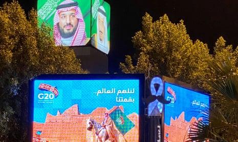 Publicity billboards for the  G20 summit are seen in Riyadh, Saudi Arabia