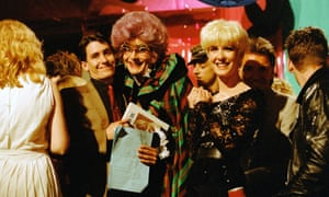 Jools Holland and Paula Yates meet Dame Edna Everage on The Tube in 1983.