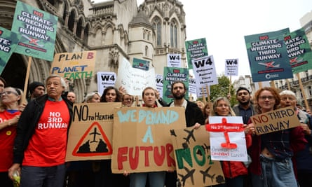 A protest outside the Royal Courts of Justice in October last year against Heathrow expansion.