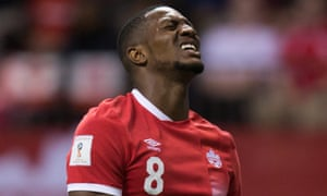 Canada's Doneil Henry reacts after putting a shot wide of the El Salvador goal during a World Cup qualifier. Canada has not made it to a World Cup since 1986