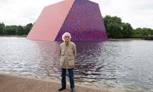 Christo with his sculpture.
