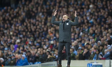 Pep Guardiola, manager of Manchester City, improvises instructions in the game against Burnley.