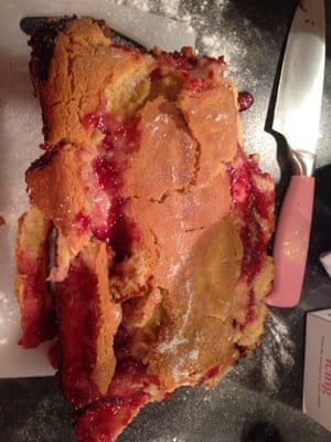 Failed raspberry shortcake <br>Supposedly really easy... A molten disaster is what it was. In no way salvageable, haven't attempted it since &amp; this was 14 months ago.