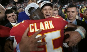Mahomes celebrates with Frank Clark. Mahomes, 24, became the youngest player in NFL history to win the regular-season MVP and a Super Bowl title.