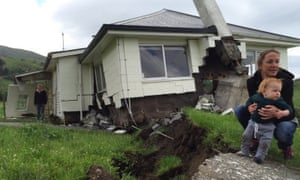 Damage done by an earthquake at Bluff Station between Blenheim and Kaikoura in New Zealand.