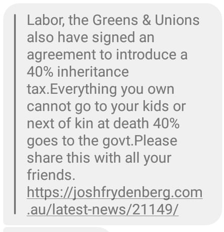 A Facebook message spread by an anonymous third party, misleading voters about Labor's plans for a death tax