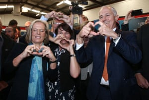 PM Turnbull Forum in CowanPrime Minister Malcolm Turnbull and Lucy Turnbull make hearts with participants in a jobs forum in the federal seat of Cowan in Perth with local member Luke Simpkins morning, Tuesday 14th June 2016. Photograph by Mike Bowers Guardian Australia Election 2016