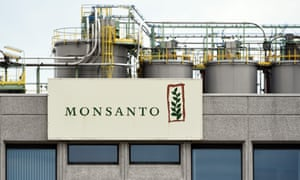 Monsanto logo on a building in Lillo near Antwerp