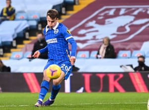 Solly March of Brighton scores his team's second goal.